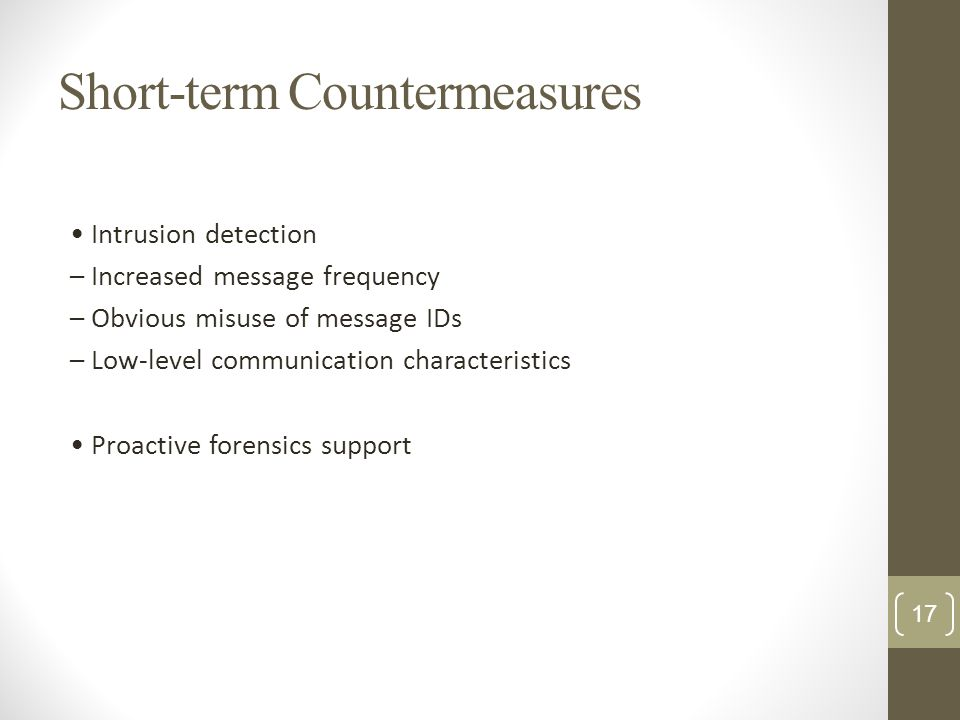 Short-term Countermeasures Intrusion detection – Increased message frequency – Obvious misuse of message IDs – Low-level communication characteristics