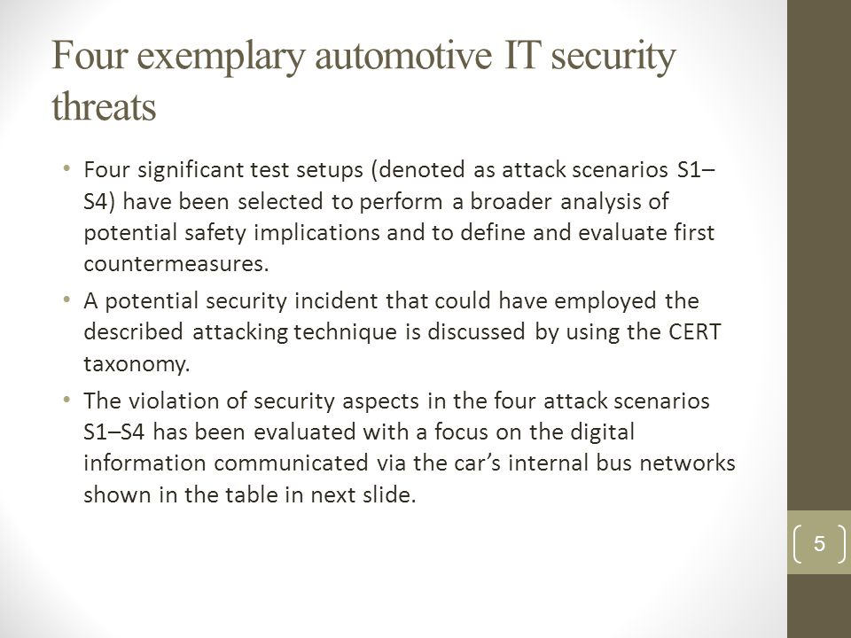 Four exemplary automotive IT security threats Four significant test setups (denoted as attack scenarios S1– S4) have been selected to perform a broade