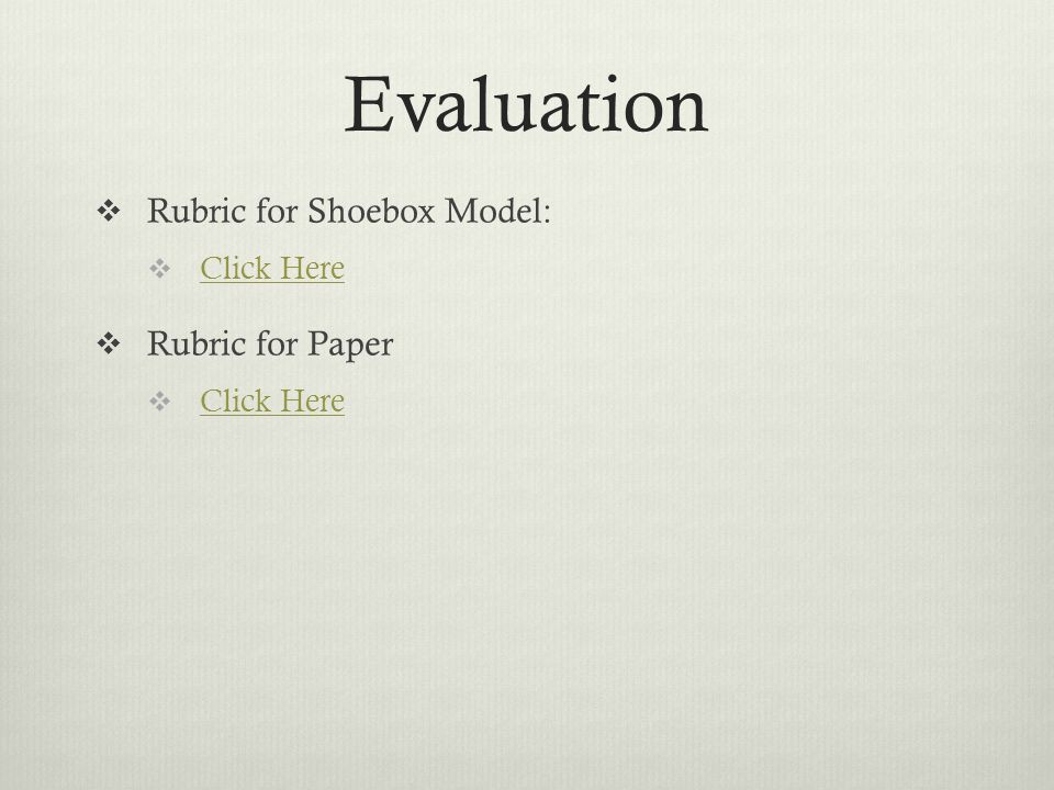 Evaluation  Rubric for Shoebox Model:  Click Here Click Here  Rubric for Paper  Click Here Click Here