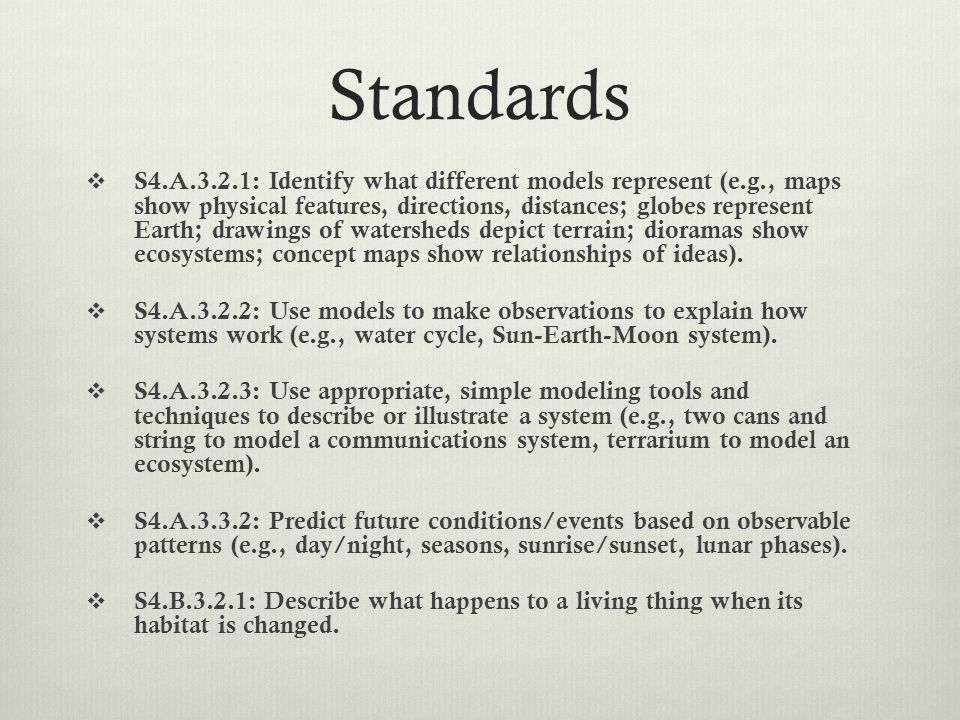 Standards  S4.A.3.2.1: Identify what different models represent (e.g., maps show physical features, directions, distances; globes represent Earth; drawings of watersheds depict terrain; dioramas show ecosystems; concept maps show relationships of ideas).