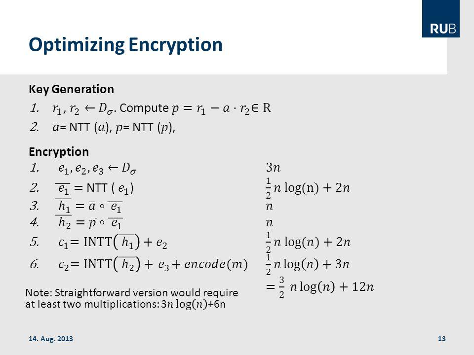 Optimizing Encryption 14. Aug. 201313