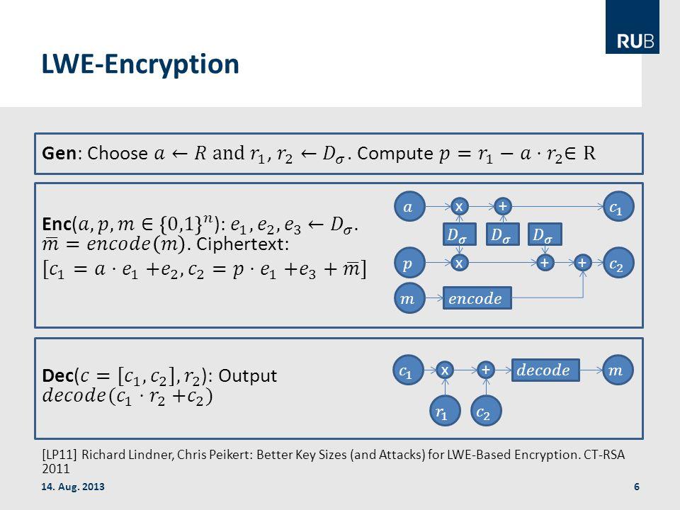 LWE-Encryption 14. Aug. 2013 x x + ++ x+ [LP11] Richard Lindner, Chris Peikert: Better Key Sizes (and Attacks) for LWE-Based Encryption. CT-RSA 2011 6