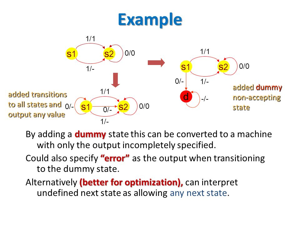 "Example dummy By adding a dummy state this can be converted to a machine with only the output incompletely specified. ""error"" Could also specify ""erro"