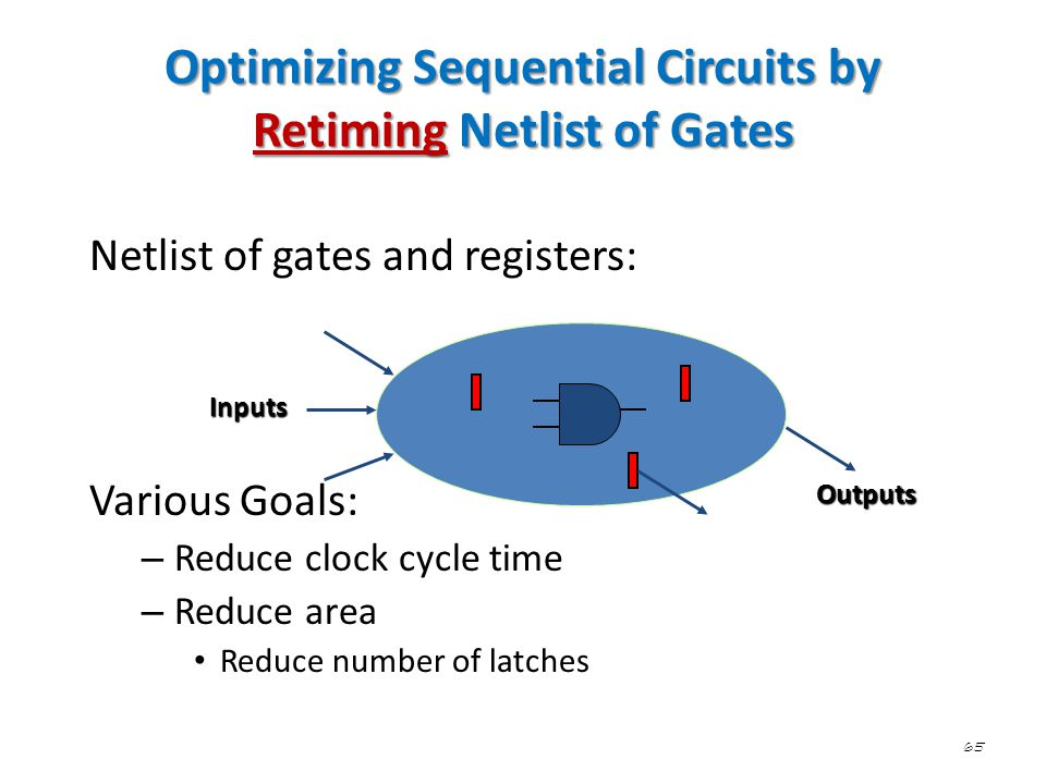 65 Optimizing Sequential Circuits by Retiming Netlist of Gates Netlist of gates and registers: Various Goals: – Reduce clock cycle time – Reduce area
