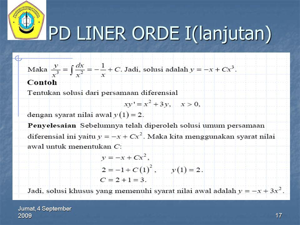 Jumat, 4 September 2009 17 PD LINER ORDE I(lanjutan)