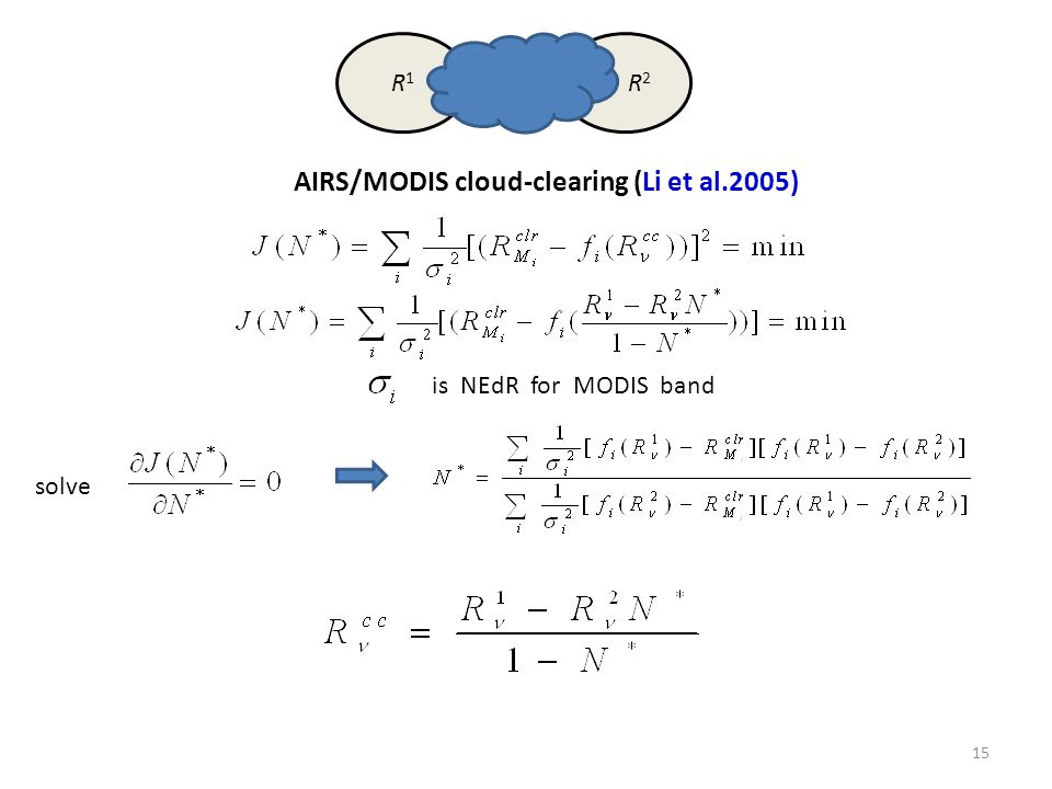 R1R1 R 2 AIRS/MODIS cloud-clearing (Li et al.2005) is NEdR for MODIS band solve 15