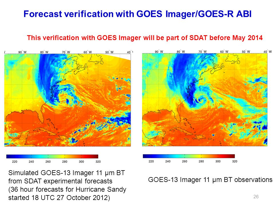 Forecast verification with GOES Imager/GOES-R ABI GOES-13 Imager 11 µm BT observations Simulated GOES-13 Imager 11 µm BT from SDAT experimental forecasts (36 hour forecasts for Hurricane Sandy started 18 UTC 27 October 2012) This verification with GOES Imager will be part of SDAT before May 2014 26