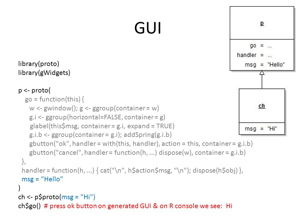 GUI library(proto) library(gWidgets) p <- proto( go = function(this) { w <- gwindow(); g <- ggroup(container = w) g.i <- ggroup(horizontal=FALSE, cont