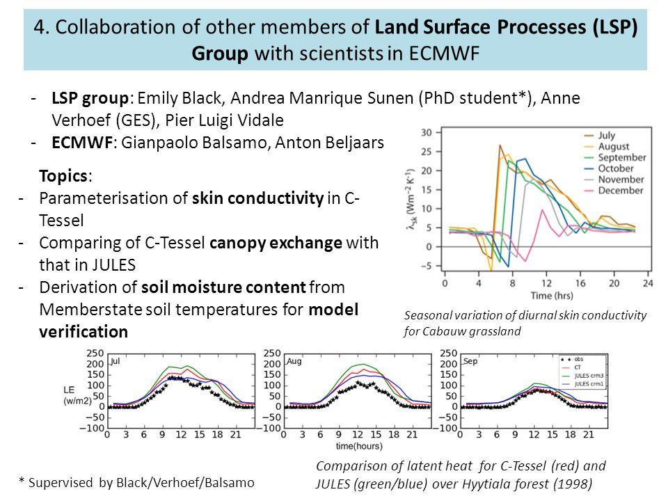 -LSP group: Emily Black, Andrea Manrique Sunen (PhD student*), Anne Verhoef (GES), Pier Luigi Vidale -ECMWF: Gianpaolo Balsamo, Anton Beljaars * Super