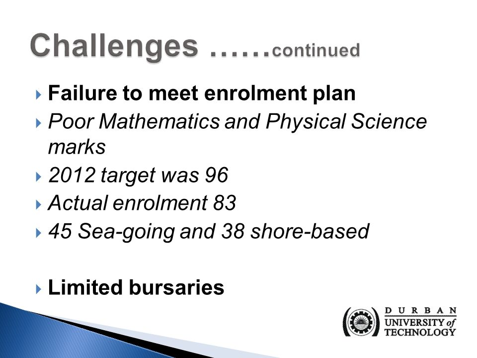  Failure to meet enrolment plan  Poor Mathematics and Physical Science marks  2012 target was 96  Actual enrolment 83  45 Sea-going and 38 shore-based  Limited bursaries