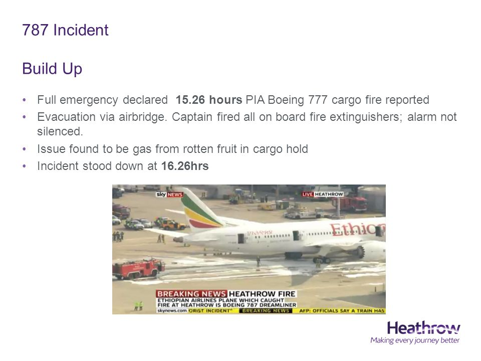787 Incident Build Up Full emergency declared 15.26 hours PIA Boeing 777 cargo fire reported Evacuation via airbridge.