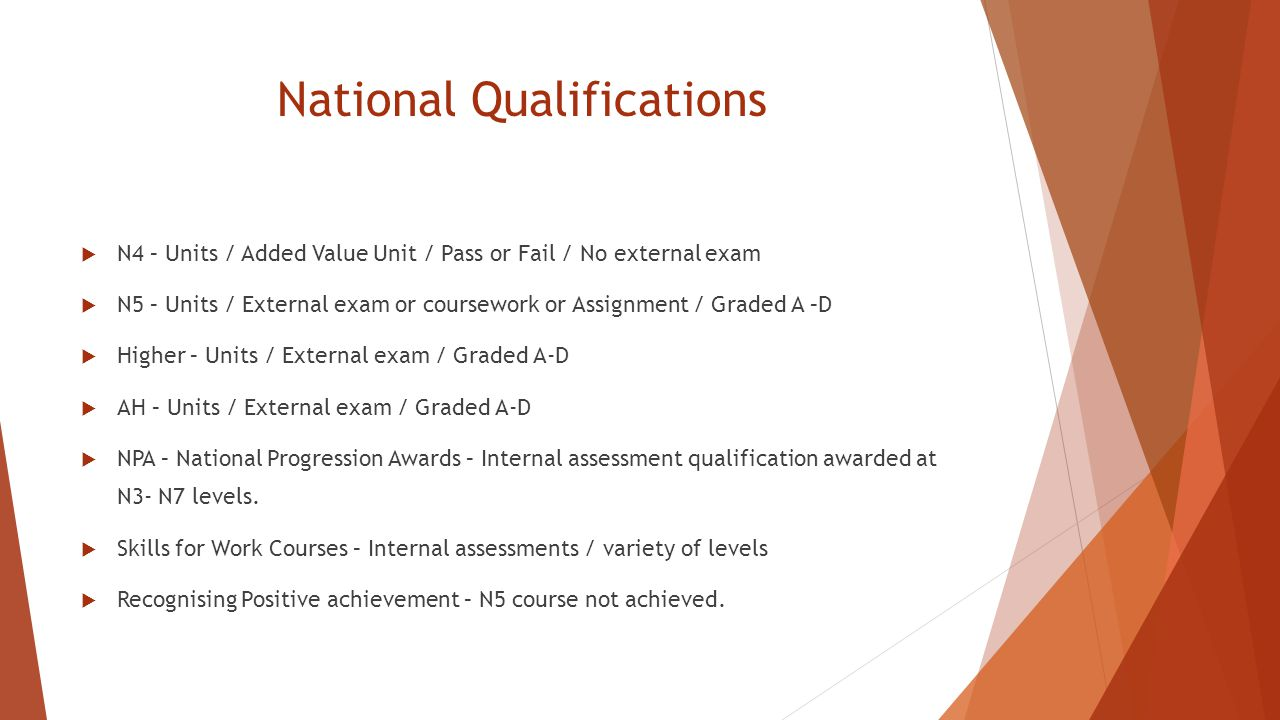 National Qualifications  N4 – Units / Added Value Unit / Pass or Fail / No external exam  N5 – Units / External exam or coursework or Assignment / Graded A –D  Higher – Units / External exam / Graded A-D  AH – Units / External exam / Graded A-D  NPA – National Progression Awards – Internal assessment qualification awarded at N3- N7 levels.
