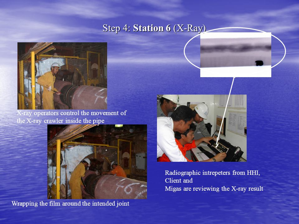 Step 4: Station 6 (X-Ray) X-ray operators control the movement of the X-ray crawler inside the pipe Wrapping the film around the intended joint Radiog