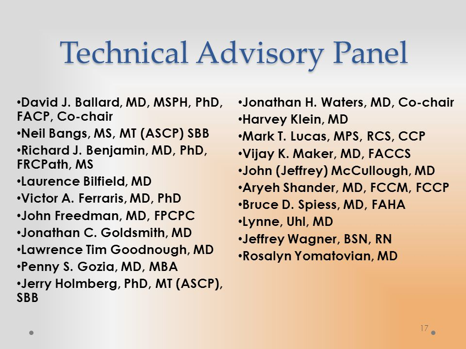 17 Technical Advisory Panel David J.