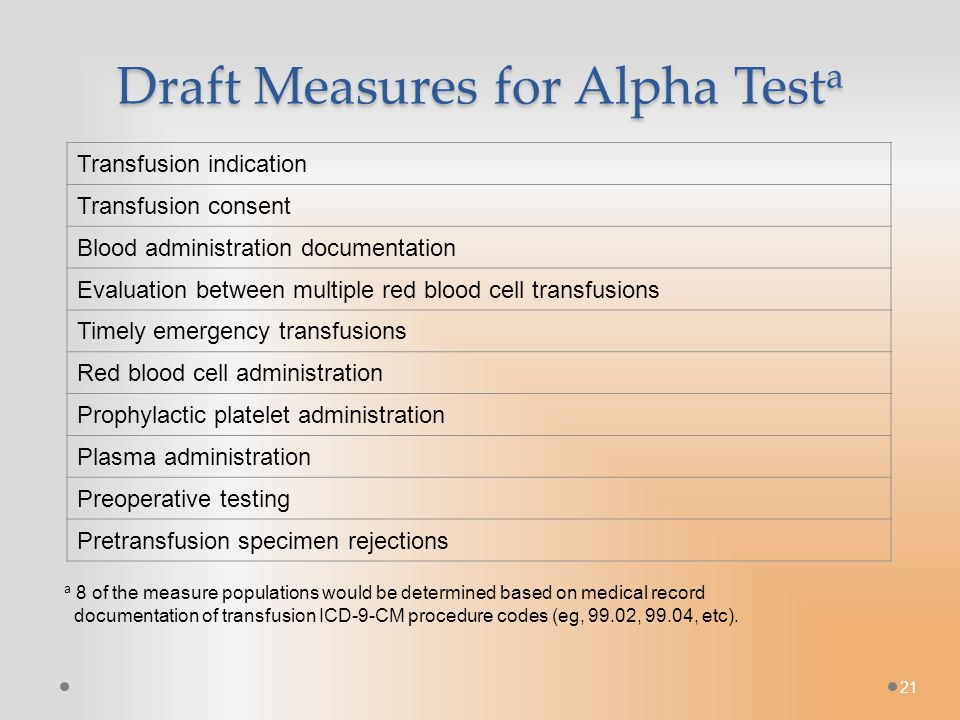 21 Draft Measures for Alpha Test a Transfusion indication Transfusion consent Blood administration documentation Evaluation between multiple red blood cell transfusions Timely emergency transfusions Red blood cell administration Prophylactic platelet administration Plasma administration Preoperative testing Pretransfusion specimen rejections a 8 of the measure populations would be determined based on medical record documentation of transfusion ICD-9-CM procedure codes (eg, 99.02, 99.04, etc).