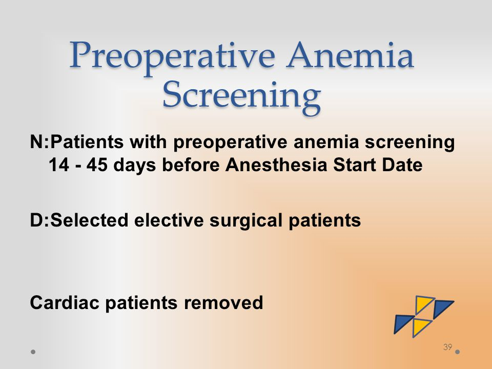 39 Preoperative Anemia Screening N:Patients with preoperative anemia screening 14 - 45 days before Anesthesia Start Date D:Selected elective surgical patients Cardiac patients removed