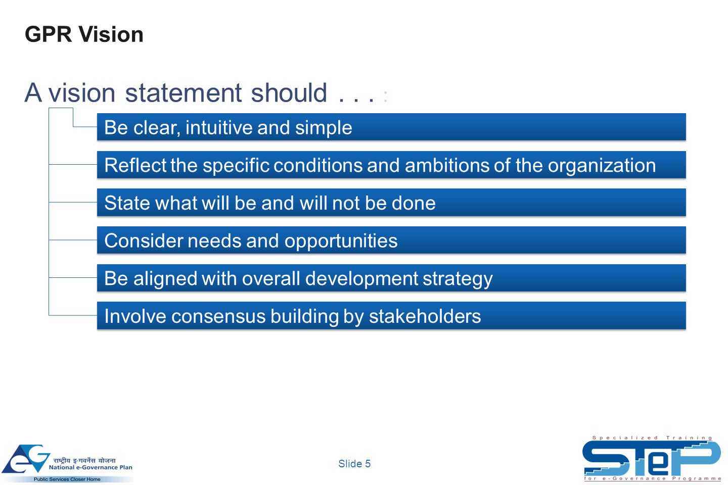 Slide 5 GPR Vision Be clear, intuitive and simple Reflect the specific conditions and ambitions of the organization State what will be and will not be done Consider needs and opportunities Be aligned with overall development strategy Involve consensus building by stakeholders A vision statement should...