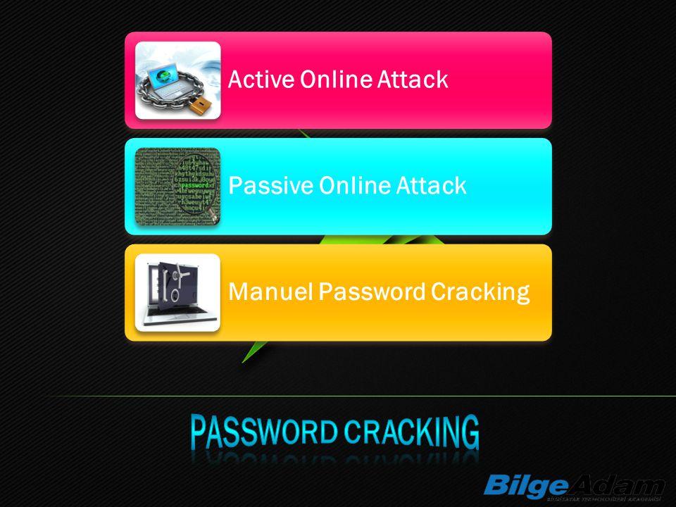 Active Online Attack Passive Online Attack Manuel Password Cracking
