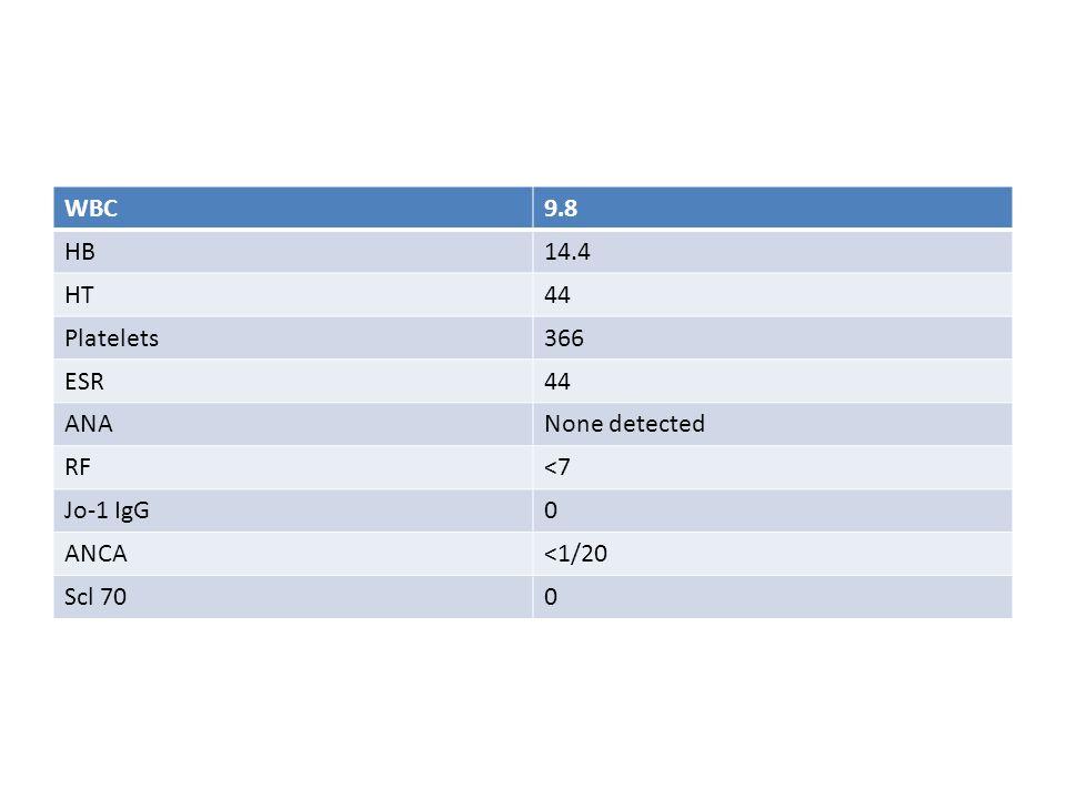 WBC9.8 HB14.4 HT44 Platelets366 ESR44 ANANone detected RF<7 Jo-1 IgG0 ANCA<1/20 Scl 700