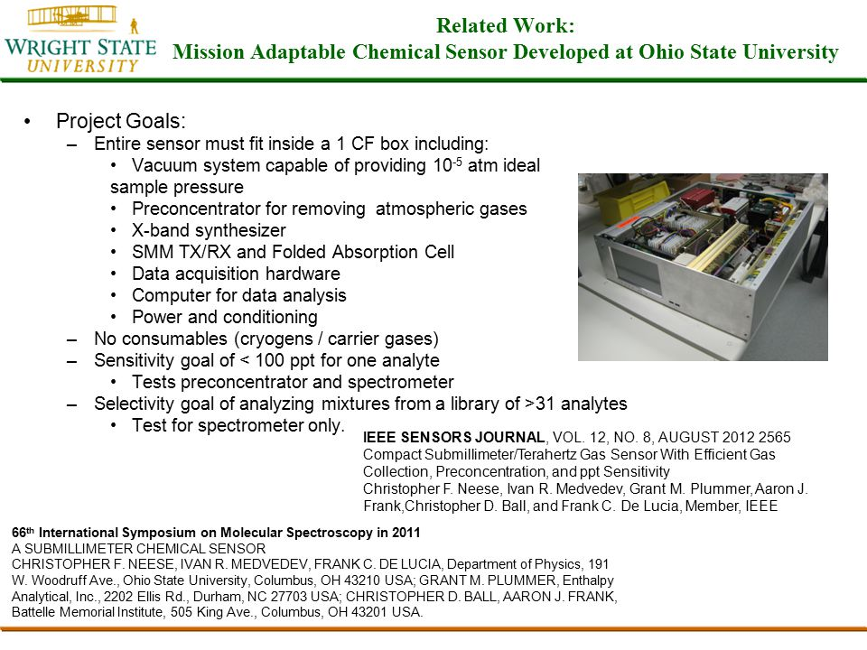 Chemical Selection Method TO-14A certified mixture sold by Scott Specialty Gases Selection Process: –Only polar molecules exhibit rotational spectra.