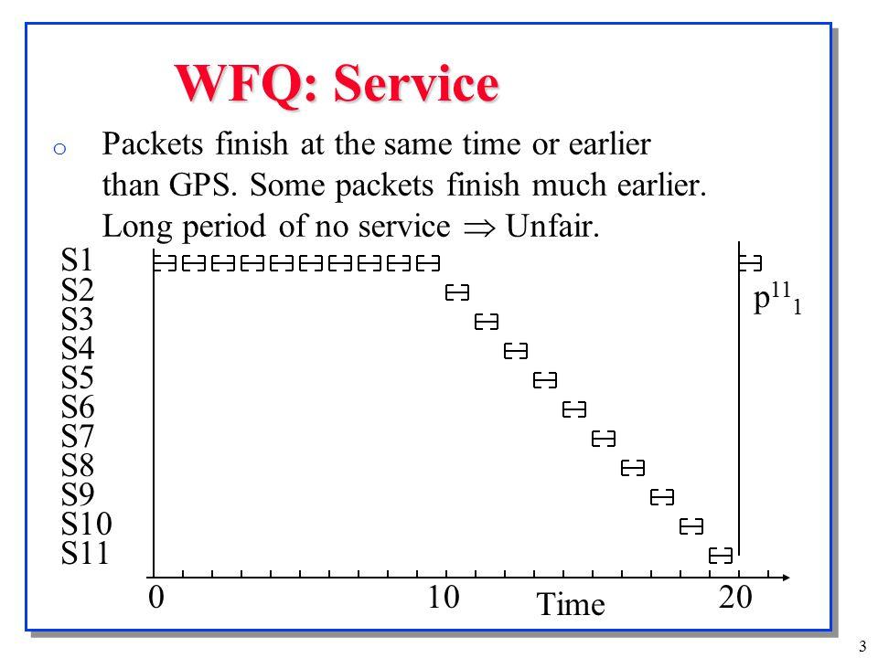 4 Worst Case Fair Weighted Fair Queuing (WF2Q ) o WF2Q fixes the unfairness problem in WFQ.