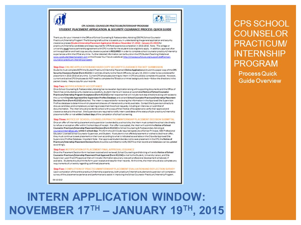 Process Quick Guide Overview CPS SCHOOL COUNSELOR PRACTICUM/ INTERNSHIP PROGRAM INTERN APPLICATION WINDOW: NOVEMBER 17 TH – JANUARY 19 TH, 2015