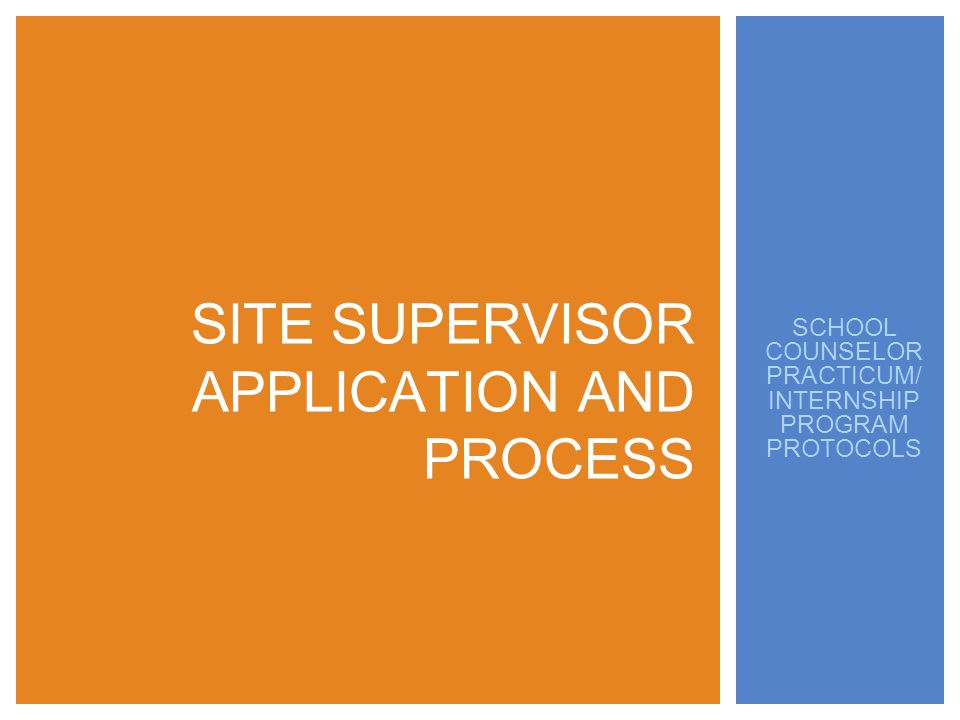 SCHOOL COUNSELOR PRACTICUM/ INTERNSHIP PROGRAM PROTOCOLS SITE SUPERVISOR APPLICATION AND PROCESS