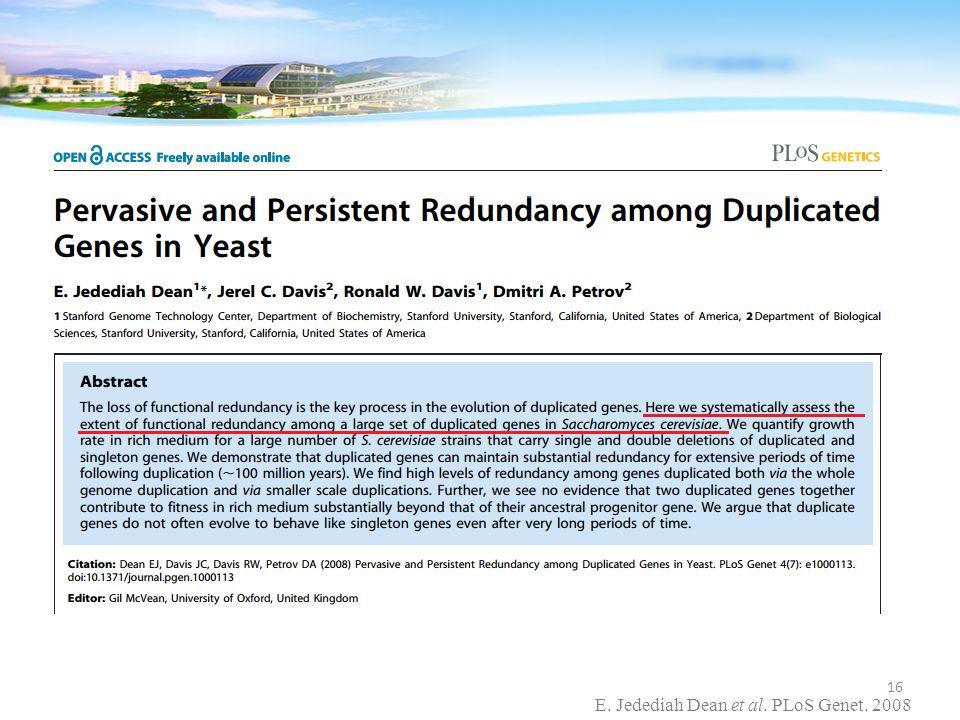 E. Jedediah Dean et al. PLoS Genet. 2008 16