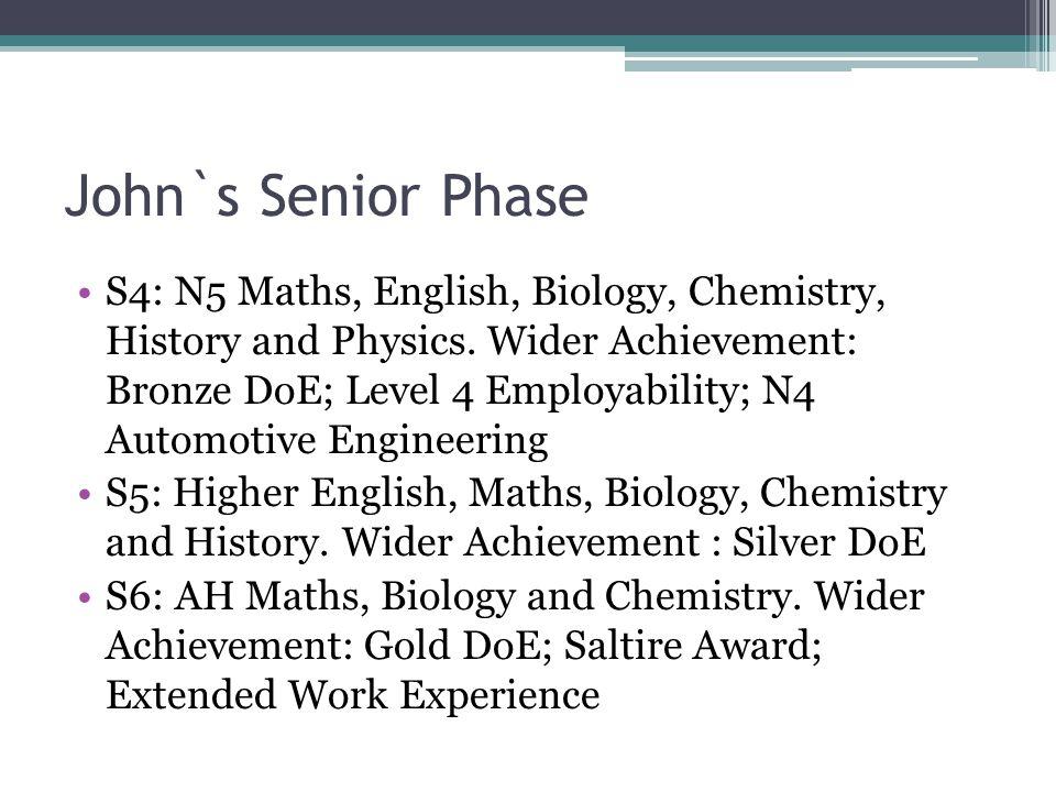 John`s Senior Phase S4: N5 Maths, English, Biology, Chemistry, History and Physics.