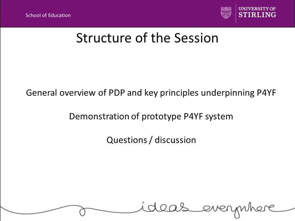 Structure of the Session General overview of PDP and key principles underpinning P4YF Demonstration of prototype P4YF system Questions / discussion