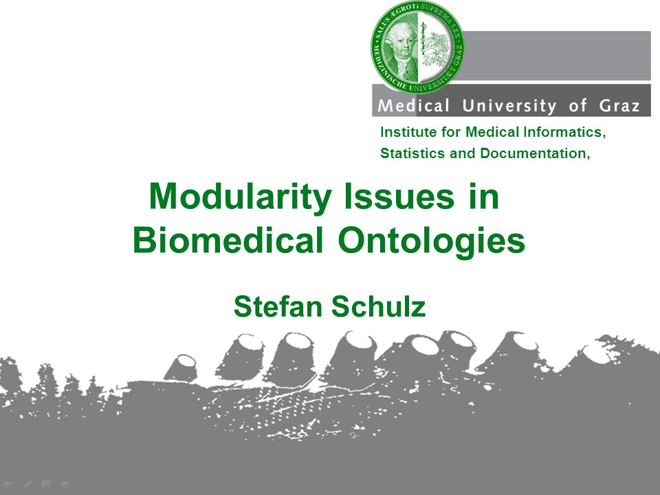 Stefan Schulz Modularity Issues in Biomedical Ontologies Institute for Medical Informatics, Statistics and Documentation,
