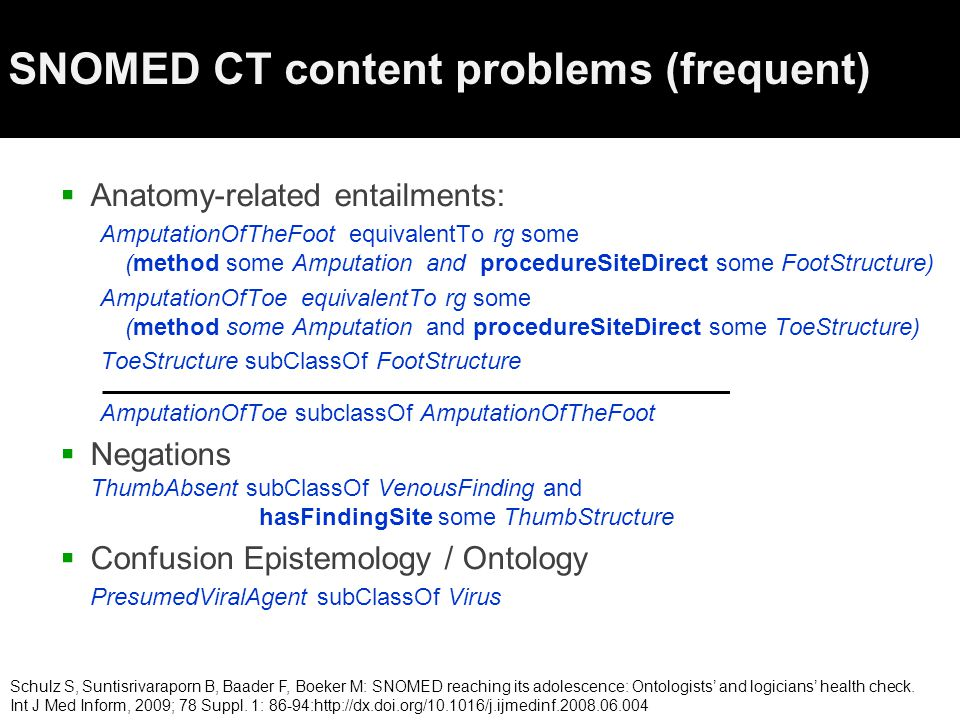 SNOMED CT content problems (frequent)  Anatomy-related entailments: AmputationOfTheFoot equivalentTo rg some (method some Amputation and procedureSiteDirect some FootStructure) AmputationOfToe equivalentTo rg some (method some Amputation and procedureSiteDirect some ToeStructure) ToeStructure subClassOf FootStructure AmputationOfToe subclassOf AmputationOfTheFoot  Negations ThumbAbsent subClassOf VenousFinding and hasFindingSite some ThumbStructure  Confusion Epistemology / Ontology PresumedViralAgent subClassOf Virus Schulz S, Suntisrivaraporn B, Baader F, Boeker M: SNOMED reaching its adolescence: Ontologists' and logicians' health check.