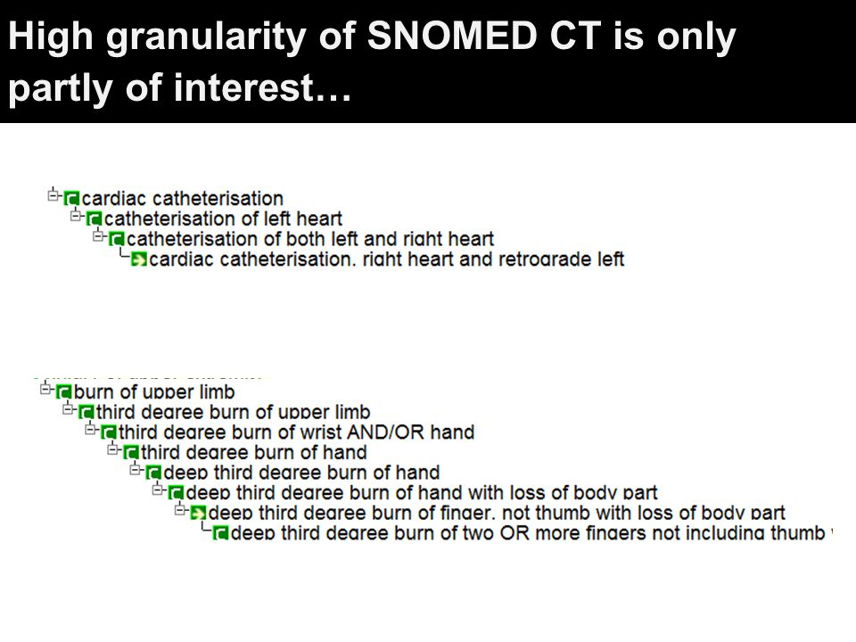 High granularity of SNOMED CT is only partly of interest…