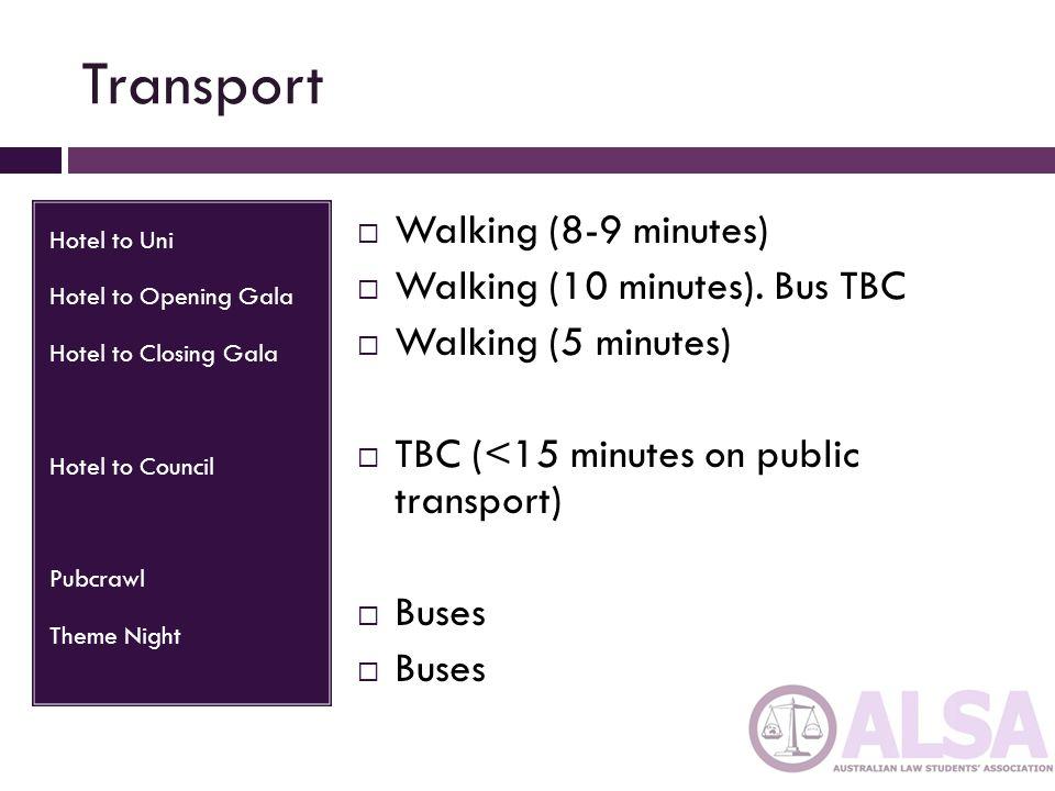 Transport Hotel to Uni Hotel to Opening Gala Hotel to Closing Gala Hotel to Council Pubcrawl Theme Night  Walking (8-9 minutes)  Walking (10 minutes).