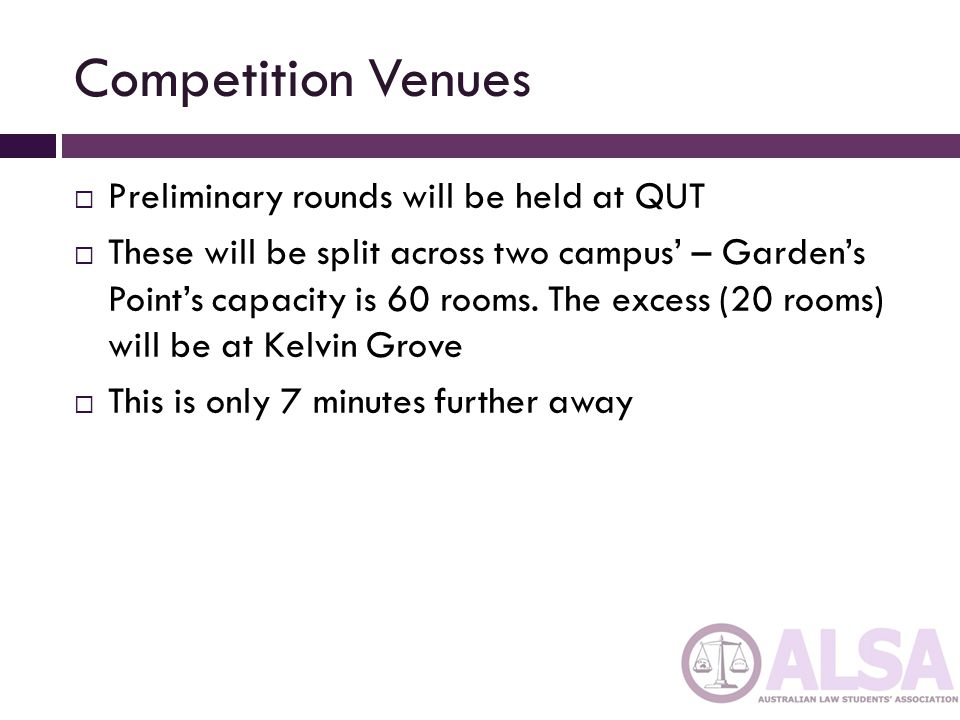 Competition Venues  Preliminary rounds will be held at QUT  These will be split across two campus' – Garden's Point's capacity is 60 rooms.