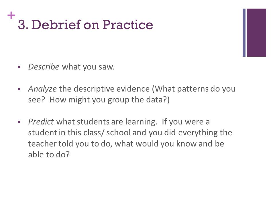 + 3. Debrief on Practice  Describe what you saw.
