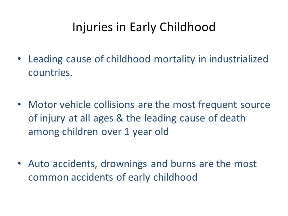 Injuries in Middles to Late Childhood The rate of injury fatalities increases into adolescence with rates for boys rising considerably above those for girls.
