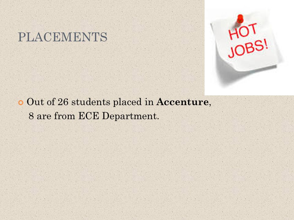 PLACEMENTS Out of 26 students placed in Accenture, 8 are from ECE Department.
