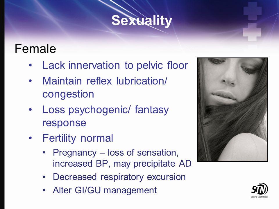 Sexuality Female Lack innervation to pelvic floor Maintain reflex lubrication/ congestion Loss psychogenic/ fantasy response Fertility normal Pregnanc