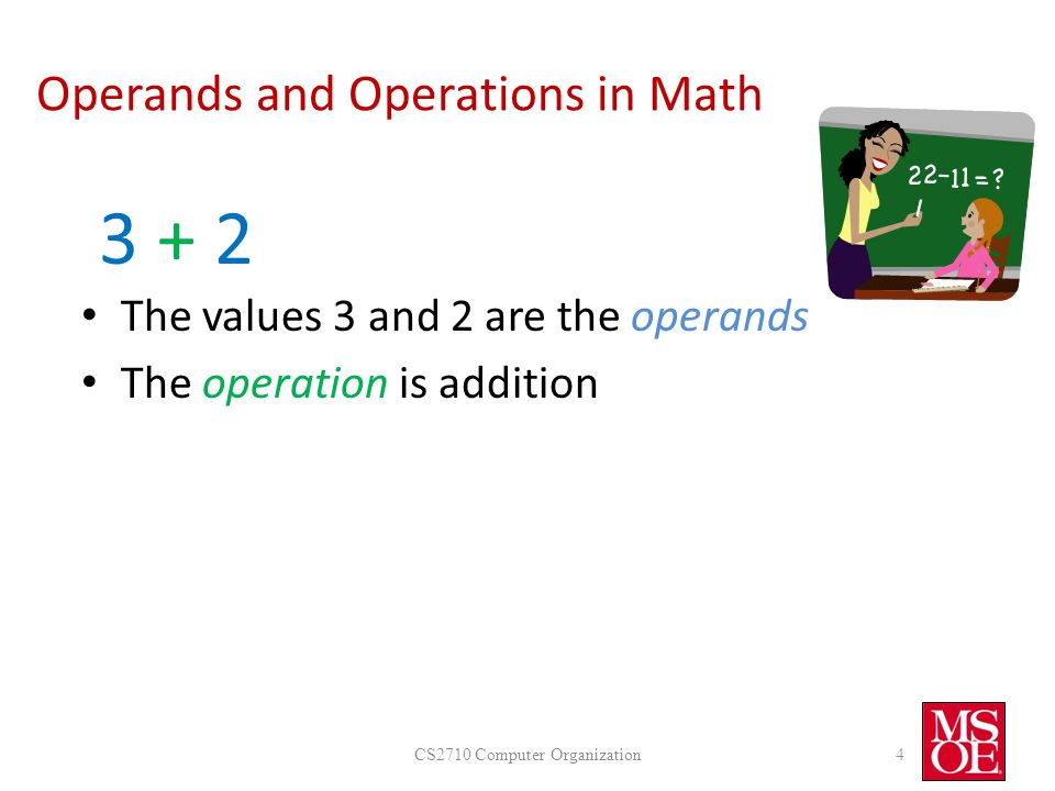 Operands and Operations in Math CS2710 Computer Organization4 3 + 23 + 2 The values 3 and 2 are the operands The operation is addition