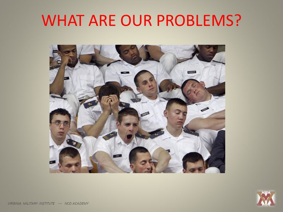 WHAT ARE OUR PROBLEMS? VIRGINIA MILITARY INSTITUTE --- NCO ACADEMY