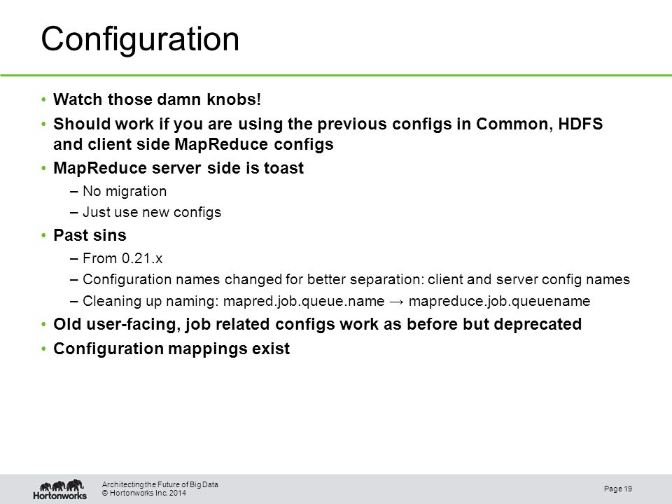 © Hortonworks Inc. 2014 Configuration Watch those damn knobs.