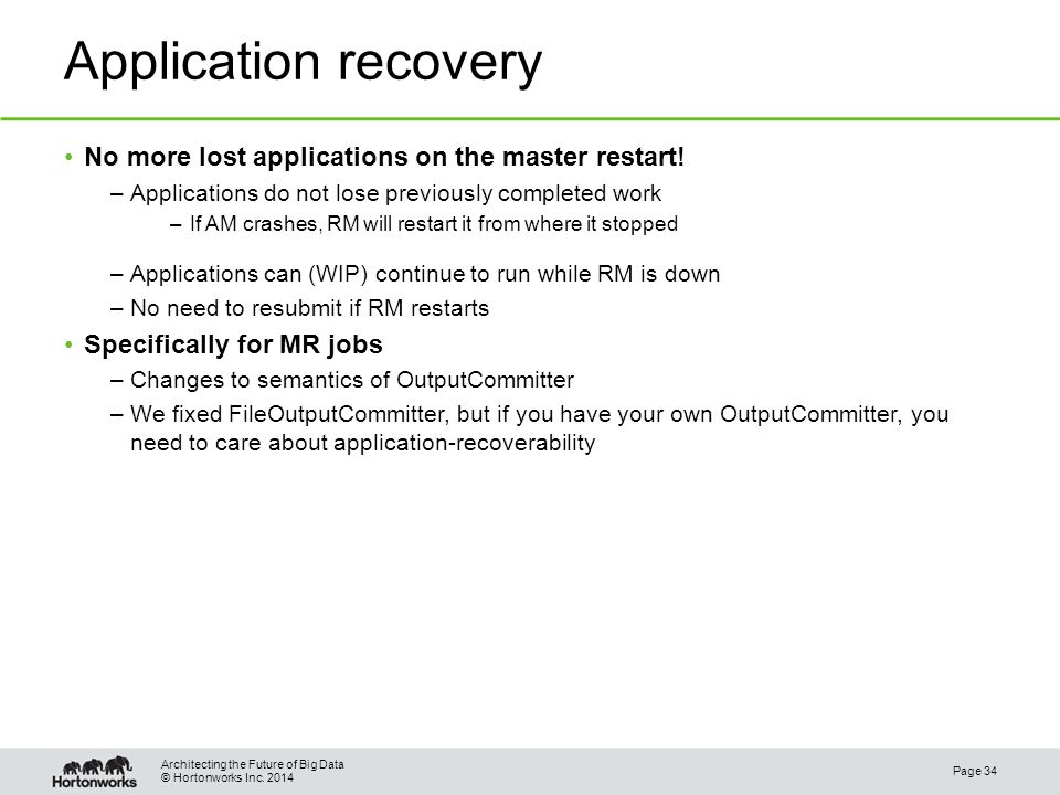 © Hortonworks Inc. 2014 Application recovery No more lost applications on the master restart.