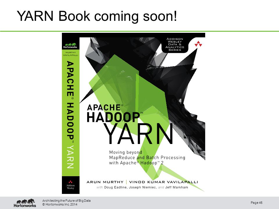 © Hortonworks Inc. 2014 YARN Book coming soon! Page 45 Architecting the Future of Big Data