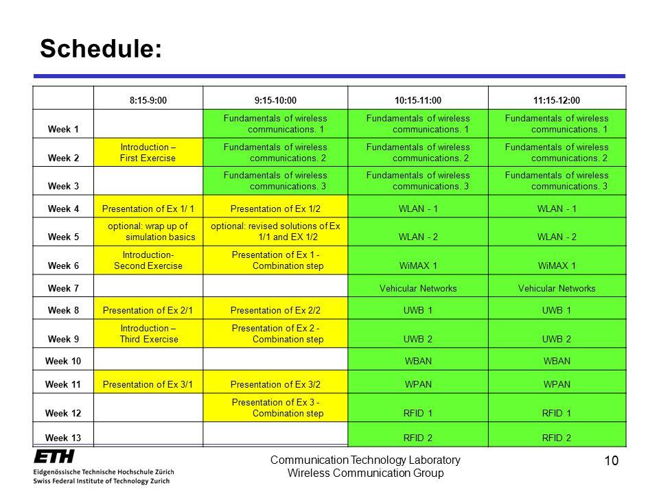 10 Communication Technology Laboratory Wireless Communication Group Schedule: 8:15-9:009:15-10:0010:15-11:0011:15-12:00 Week 1 Fundamentals of wireles