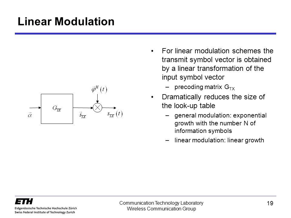 19 Communication Technology Laboratory Wireless Communication Group Linear Modulation For linear modulation schemes the transmit symbol vector is obta