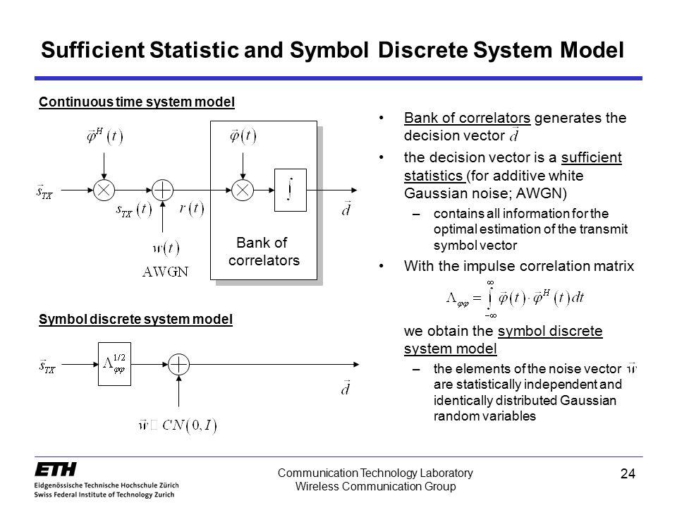24 Communication Technology Laboratory Wireless Communication Group Sufficient Statistic and Symbol Discrete System Model Bank of correlators generate