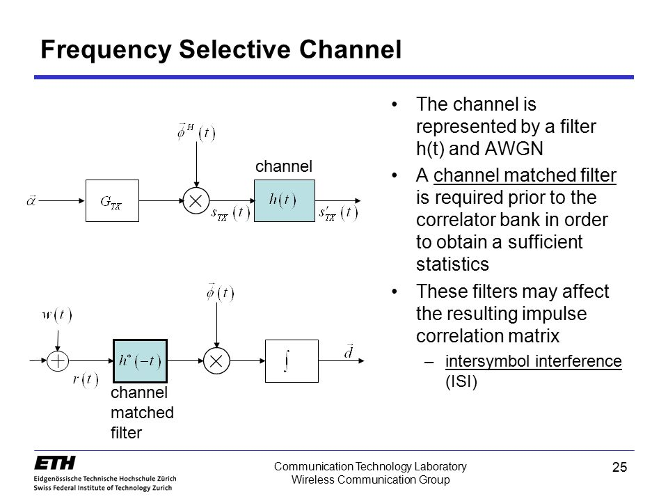 25 Communication Technology Laboratory Wireless Communication Group Frequency Selective Channel channel The channel is represented by a filter h(t) an