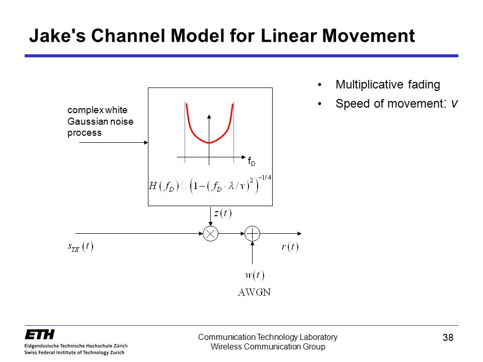 38 Communication Technology Laboratory Wireless Communication Group Jake's Channel Model for Linear Movement Multiplicative fading Speed of movement :