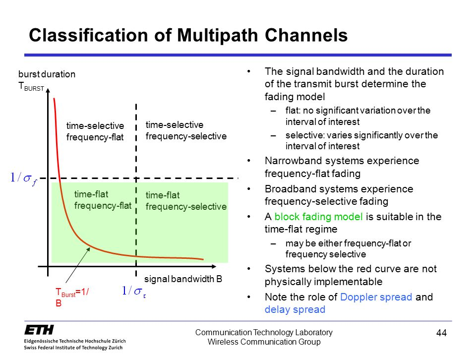 44 Communication Technology Laboratory Wireless Communication Group Classification of Multipath Channels The signal bandwidth and the duration of the